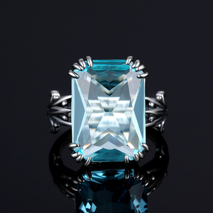 Image 4 - Szjinao Real 925 Sterling Silver Aquamarine Rings For Women Sky Blue Topaz Ring Gemstones Silver 925 Jewellery Christmas Gift