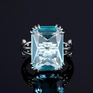 Image 4 - Szjinao gerçek 925 ayar gümüş akuamarin yüzük kadınlar için Sky Blue Topaz yüzük taşlar gümüş 925 takı noel hediyesi