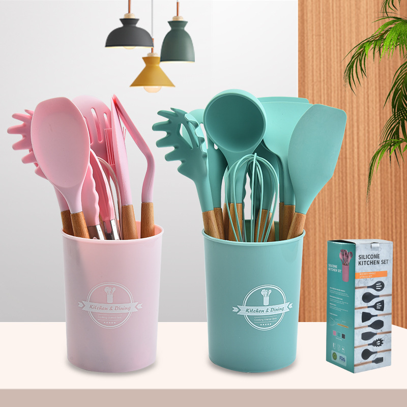 11/12PCS Silicone Cooking Utensils Set Non-stick Spatula Shovel Wooden Handle Cooking Tools Set With Storage Box Kitchen Tools