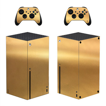 Carbon Fiber Gold Skin Sticker Decal Cover for Xbox Series X Console and 2 Controllers Xbox Series X Skin Sticker Vinyl 1