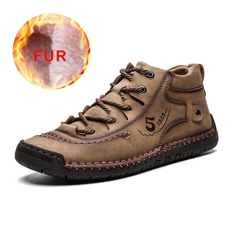 2019 Men Shoes Leather Winter Shoes Men Warm Comfortable Mans Footwear Fur Waterproof Ankle Boots Men Lace-up Shoes Big Size 4