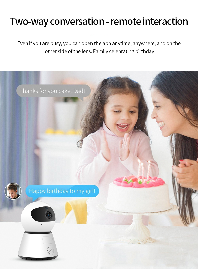 H65d99cb7d322490a9b16004191325100J 720/1080P PTZ Wireless Mini IP Camera Move Detection Infrared Night Vision Home Security Surveillance Wifi Camera Cloud Service