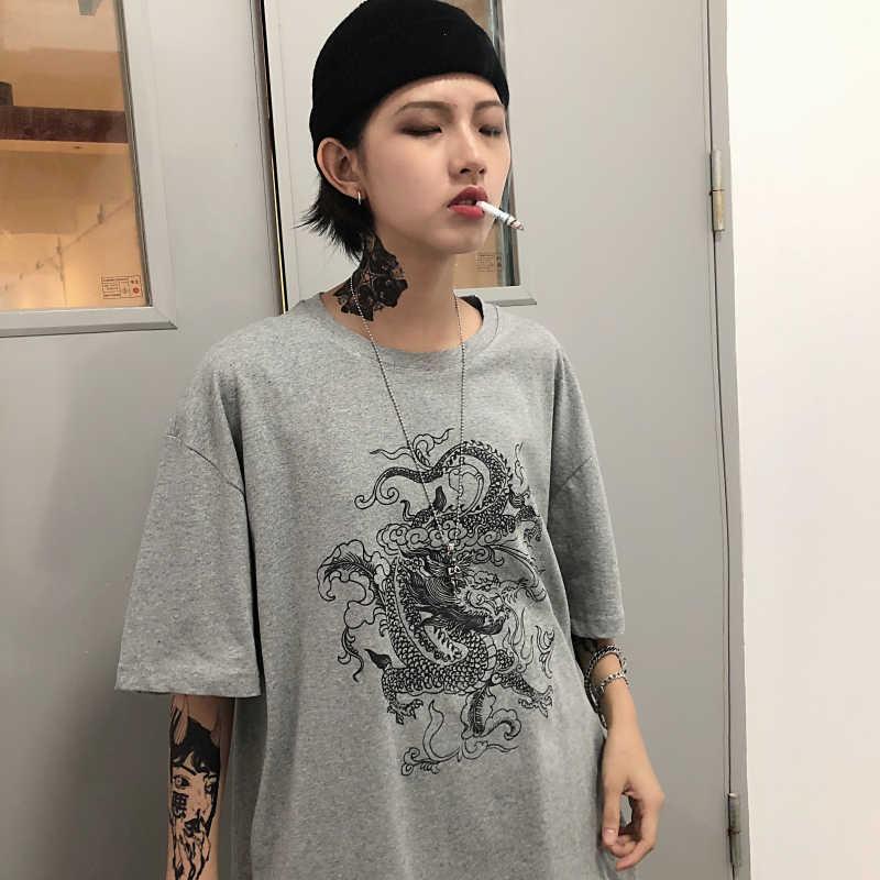 Kadın T-shirt ejderha rahat baskı gevşek dropshipping tops gömlek vintage gotik stranger şeyler örgü üst harajuku giyim baskı