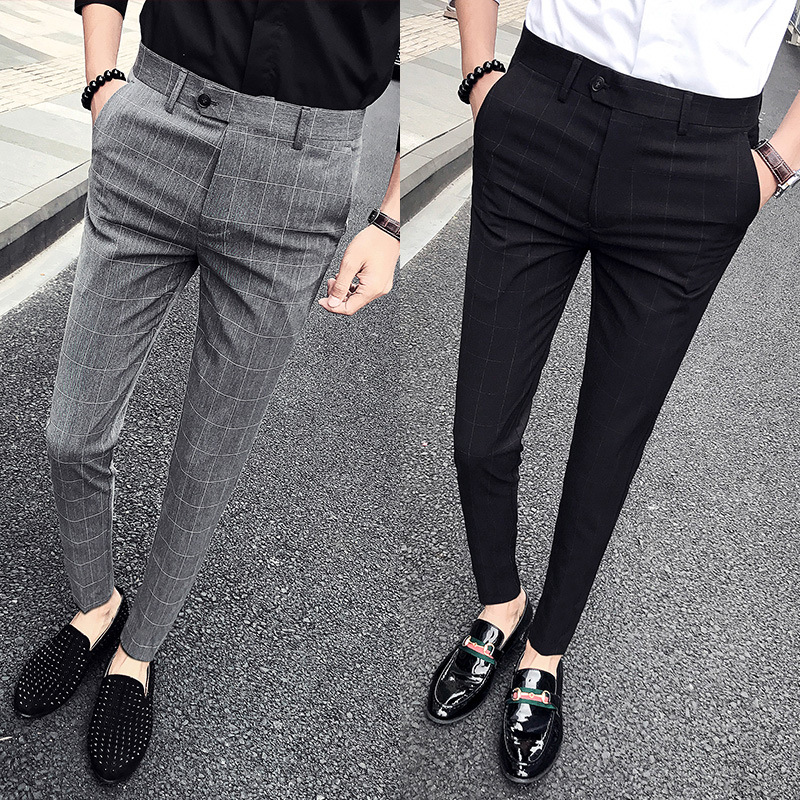 England Plaid Casual Trousers Korean-style Slim Fit Skinny Pants Suit Pants Trousers
