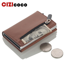 New Antitheft Men Credit Card Holder Blocking Rfid Wallet Leather Unisex Security Information holders Aluminum Metal Purse