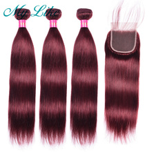 My Like Brazilian Hair Weave Straight Bundles with Closure 99J Red Burgundy 3Pcs Non-remy Human