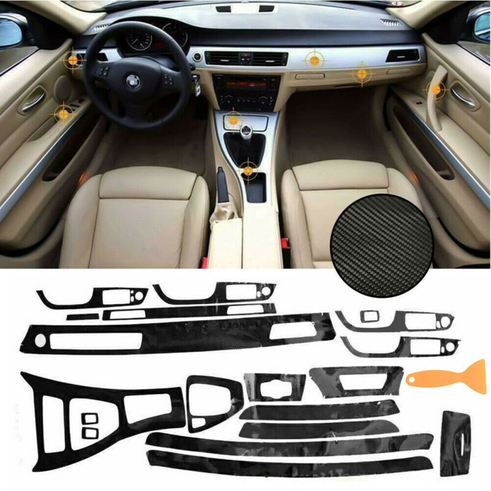Car stickers and Decals Glossy Carbon Fiber Wrap Trim Decal Car Styling 5D Interior For <font><b>BMW</b></font> 3 Series <font><b>E90</b></font> 2005-13 2020 New image