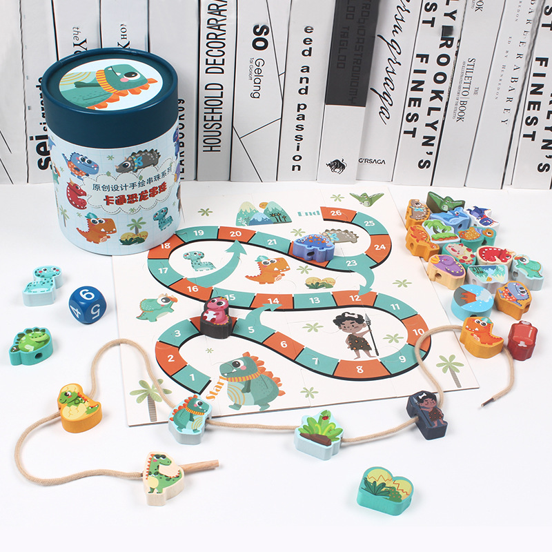 Wooden Barrel Animal Traffic Building Blocks Beaded Bracelet Children'S Educational Early Childhood Lettered With Numbers Cognit
