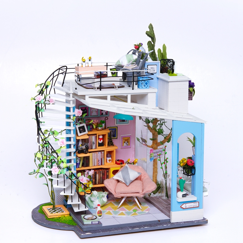 Robotime DIY Dollhouse Miniature Doll House Furniture Wooden Dollhouse Kits ForChildren Gift For Dropshipping