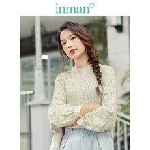 Inman 2020 primavera nova chegada literária o neck solto manga comprida blusa feminina