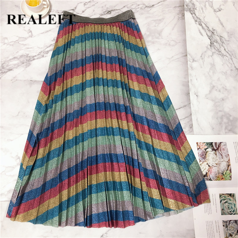 REALEFT New Arrival Women Bling Rainbow Striped Vintage Pleated Long Skirt High Waist Harajuku Tulle A-Line Mid-Calf Party Skirt
