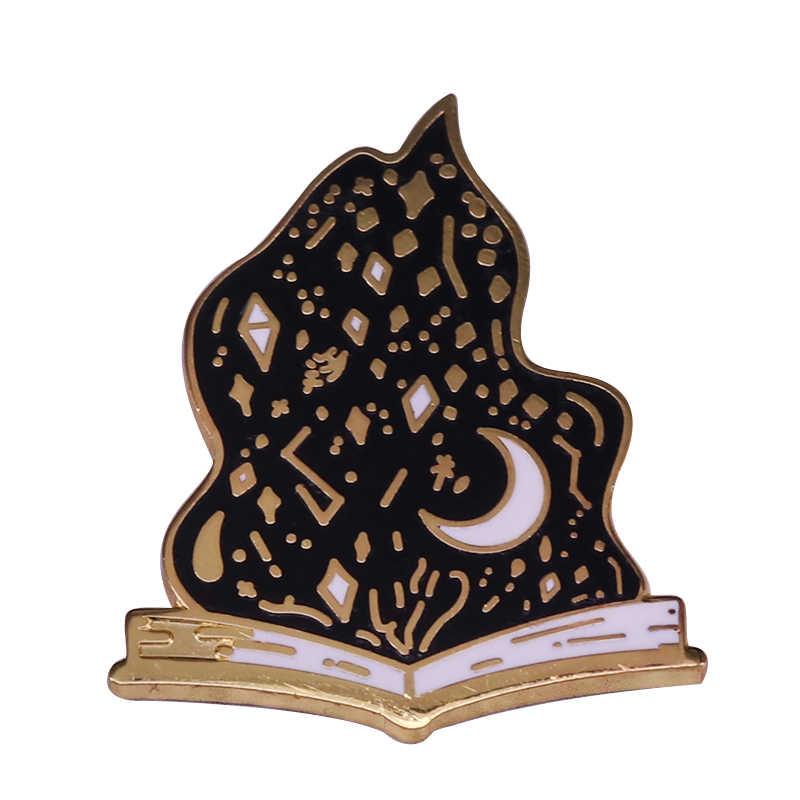 Колдовская книга Эмаль Булавка волшебное колдовство значок черное пламя брошь книжный червь подарок оккультный готический ювелирный