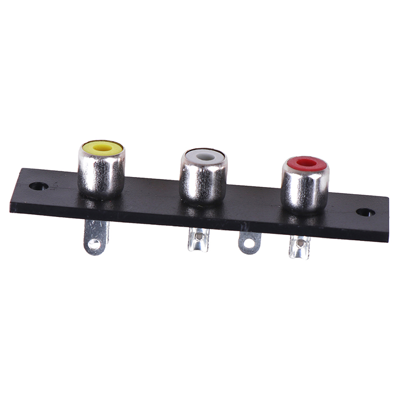 6.6x1.6cm 3 Way RCA Terminal Wall Panel Plate Input Phono Chassis Socket Audio Adapter