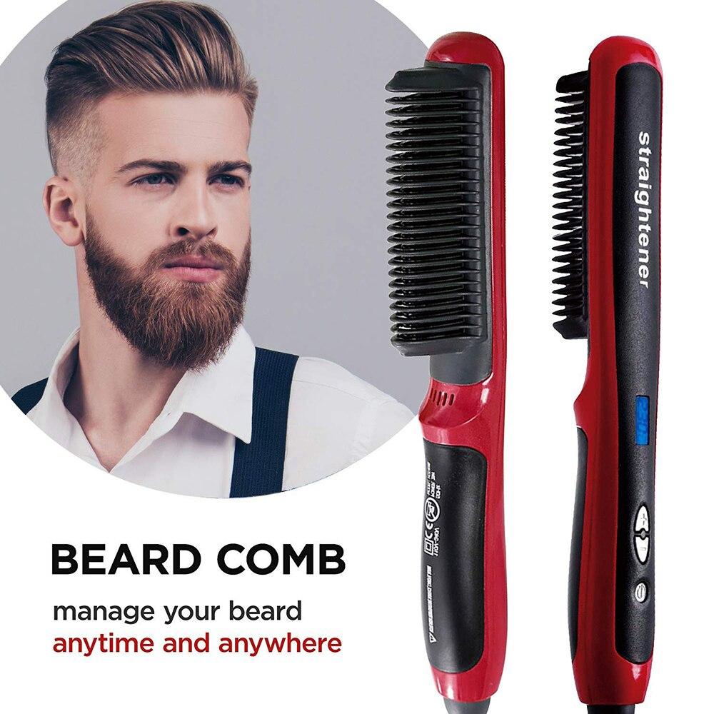 Men Beard Straightener Ceramic Hair Straighteners Multifunctional Hair Brush Curling Iron Straightening Comb Quick Hair Styler