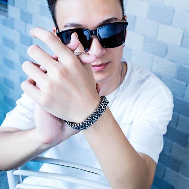 AZIZ BEKKAOUI w stylu Vintage Punk Double-warstwa szeroki bransoletki ze stali nierdzewnej dla mężczyzn bransoletki i łańcuszki na rękę i bransolety męskie fajne biżuteria prezent