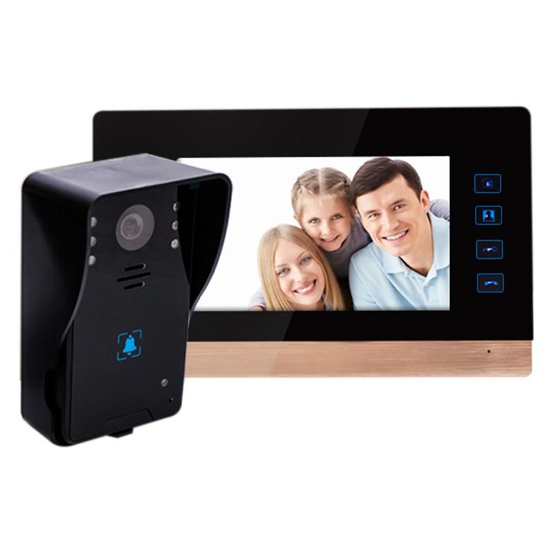 7 Inch Video Door Phone Recording Hd 1000Tvl 1 Ir Night-Vision Doorbell Camera Hands Free Monitor Home Video Intercom Doorbell