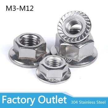 2/25X M3 M4 M5 M6 M8 M10 M12 High Quality Stainless Steel Hexagon Hex Head Serrated Spinlock Flange Nut Locknut Lock Nut DIN6923 free shipping m3 m4 m5 m6 m8 m10 m12 304 stainless steel flange hex nut flange nuts din6923