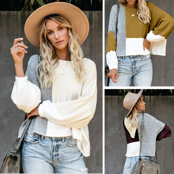 2020 European and American Autumn Women's New Round Neck Lantern Sleeve Contrasting Color Stitching Loose Top Popular lace applique lantern sleeve cold shoulder top