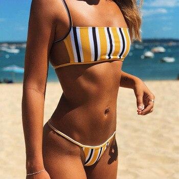 Sexy Solid Two-Piece Bikini Set Female Fashion Low Waisted Mini Thong Swimming Suit 2020 New Striped Bandeau Summer Beach-Wear low waisted floral thong bikini