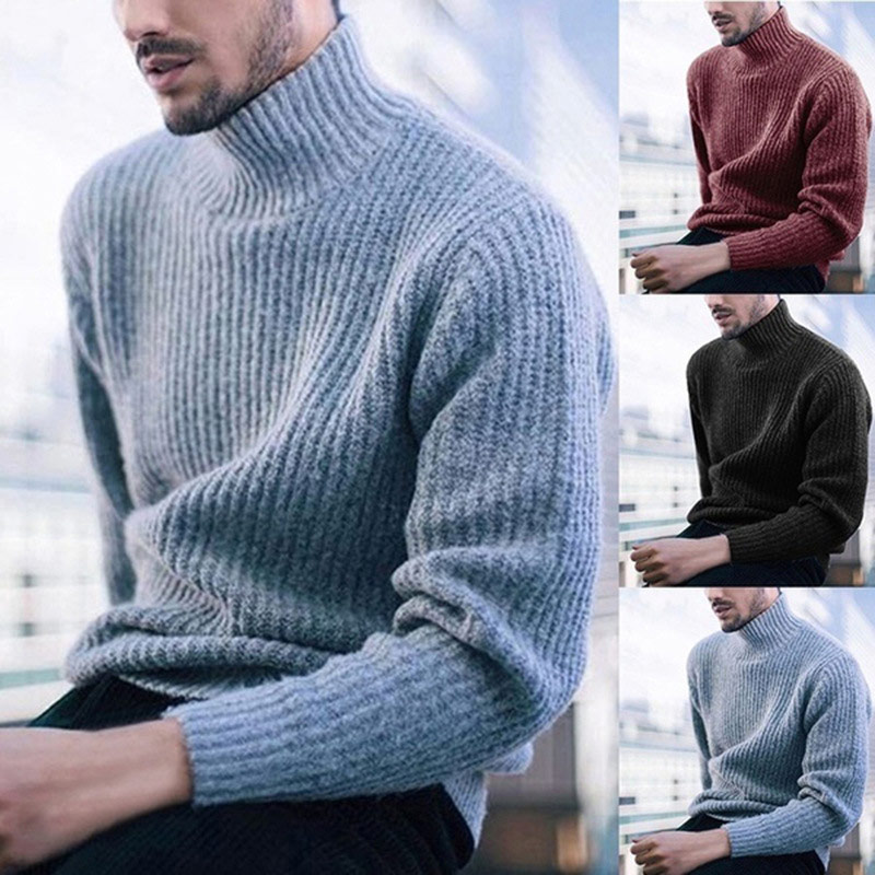 Winter Wool Turtleneck Men's Sweater Casual Warm Pullover Men Large Size 3XL Solid Slim  New Fashion Male Sweaters