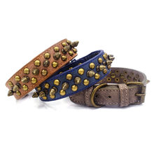 Punk Collar Pet Dog Spiked Dog Collar Studded Leather Dogs Collars for Medium Large Dogs german shepherd(China)