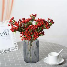 7 вилок искусственные ягоды нежные реалистичные Яркие Рождественские украшения фрукты(красный