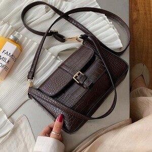 Image 1 - حزام مصمم بولي Leather حقائب جلدية Crossbody للنساء 2020 الكتف حقيبة بسيطة سيدة حجر نمط حقائب السفر ومحفظة