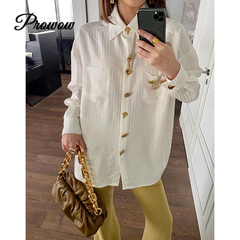 High Quality Luxury Metal Botton Loose Long sleeved Striped White Shirt Women Loose Blouse Tide Brand Runway Top Clothes Autumn|Blouses & Shirts| - AliExpress