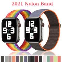Correia de náilon para apple assistir banda série 6/se/5/4 44mm 40mm 42mm 38mm smartwatch pulseira correia esporte pulseira para iwatch banda 321