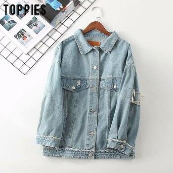 2020 Fashion Ripped Hole Jeans Jackets Women Blue Denim Coat Vintage Loose Oversized Coat Steetwear