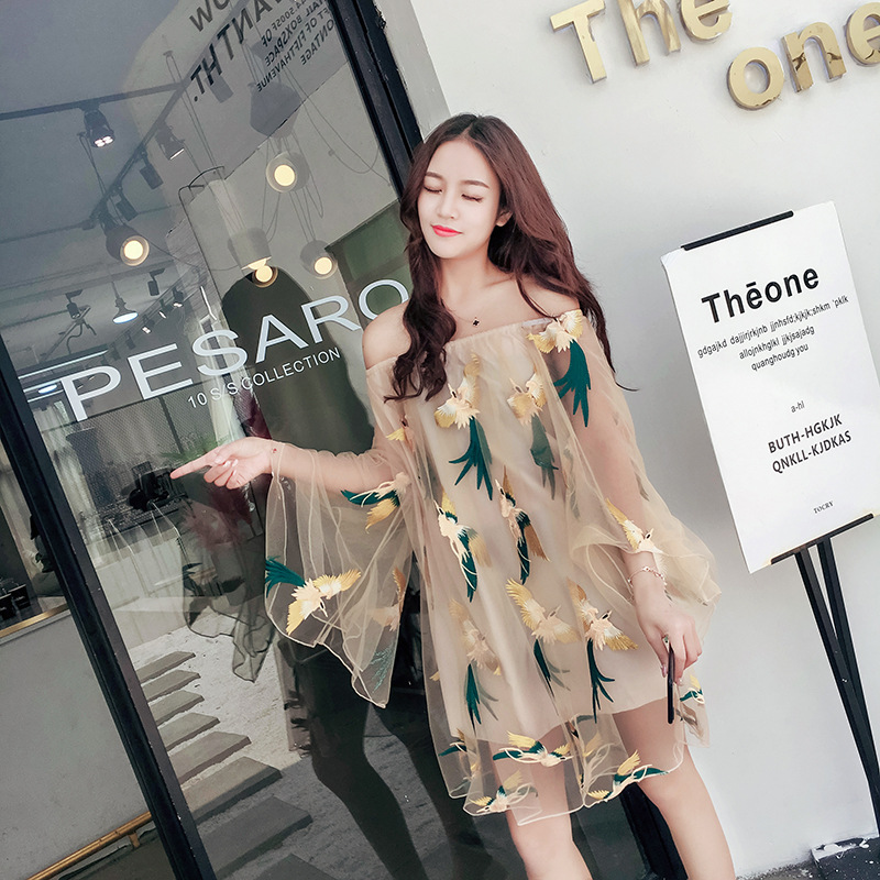 Photo Shoot Immortal Flying Bird Ethnic-Style Embroidered Gauze Holiday Beach Skirt Tube Top Horizontal Neck Dress