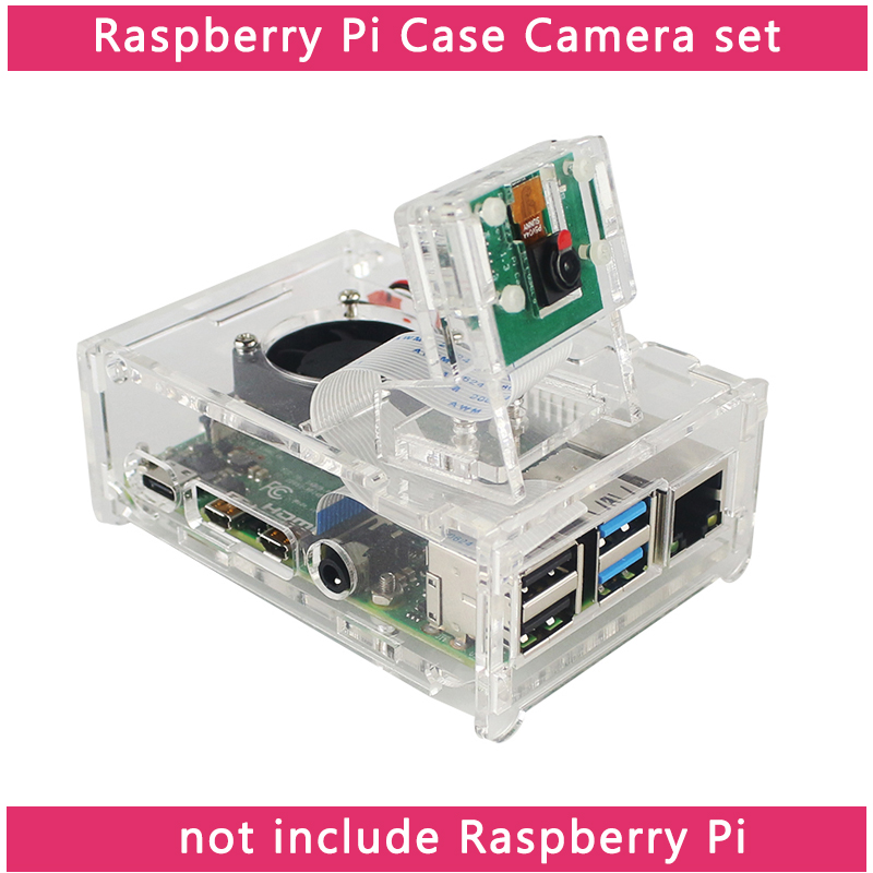 Raspberry Pi 4 Model B Acrylic Case + 5MP OV5647 Camera + FFC + Acrylic Holder + Cooling Fan + Heat Sinks For Raspberry Pi 4