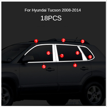 Stainless Steel Full Frame Sill with Decorative Window Stickers for Hyundai Tucson 2008 2009 2010 2011 2012 2013 2014