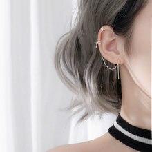 Женские серебряные серьги клипсы длинные цепочки из серебра