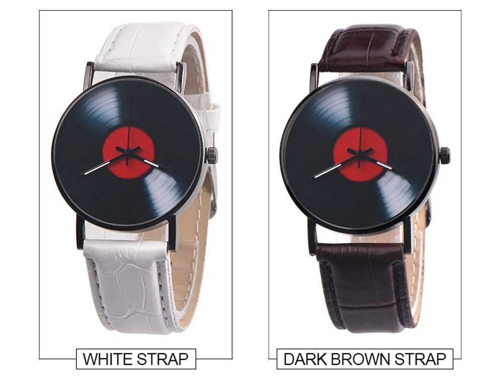 H65dbca6cdeda4834870b7a5647b1d086S 2020 Fasion Men's Watch Neutral Watch Retro Design Brand Analog Vinyl Record Men Women Quartz Alloy Watch Gift Female Clock NEW