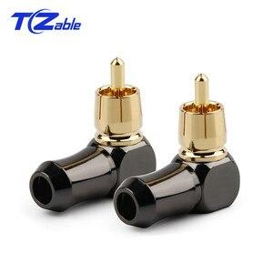 Image 1 - Rca Connector Mannelijke L Type 90 Graden Gebogen Rca Haakse Elleboog Converter Rca Plug Vergulde Soldeer Audio adapter