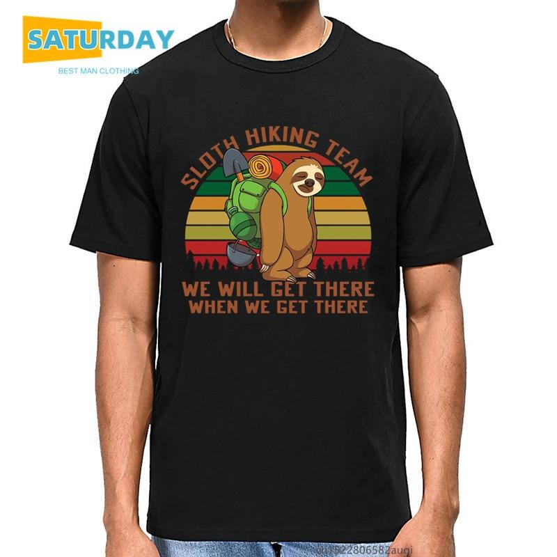 Ленивец походная команда мы приедем туда, когда дойдем туда, Мужская футболка унисекс, винтажные забавные летние хлопковые топы с круглым в...