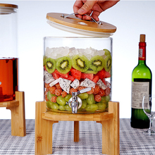 5L High Capacity Glass Whiskey Barrel Mason Jar Alcoholic Beverages Drink Dispenser Storage Organizer