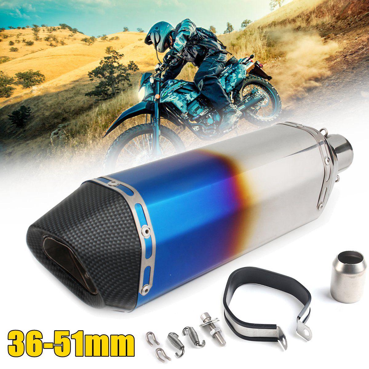 Tuyau de silencieux d'échappement universel bleu/coloré de moto d'acier inoxydable de 36-51mm pour Honda/Kawasaki/Yamaha/Suzuki/KTM/ATV