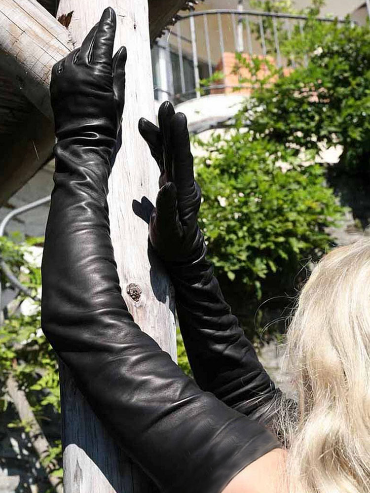 lady real sheep leather  super long shoulder long leather gloves black-in Women's Gloves from Apparel Accessories
