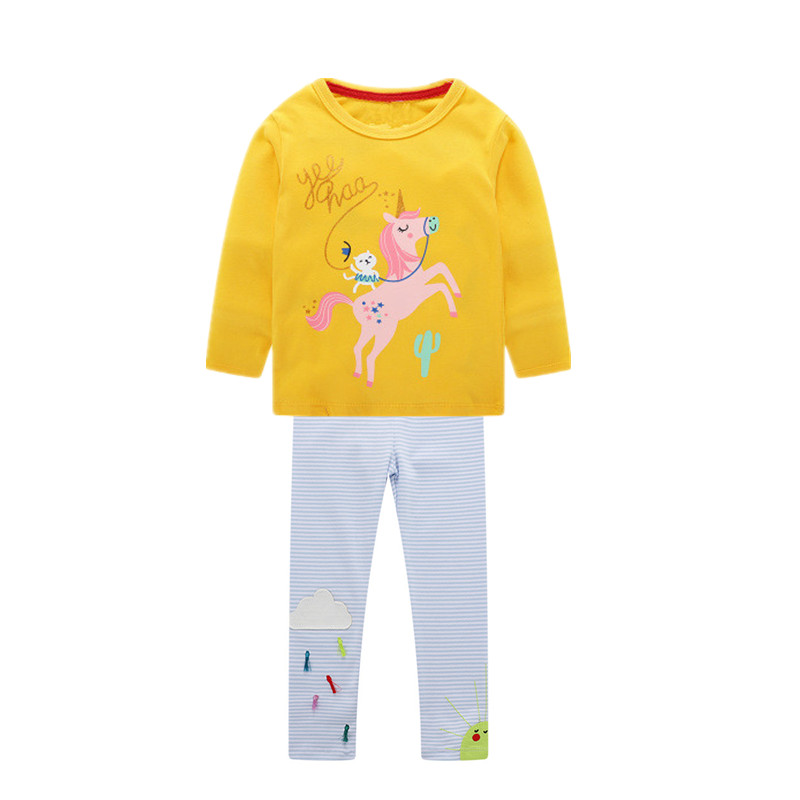 VIDMID girls cotton clothing set kids cartoon t-shirt and pants baby girls long sleeve clothing suits children clothes sets W01 4
