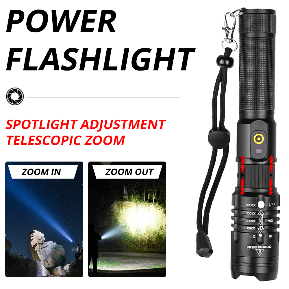 lowest price Powerful LED Flashlight XHP70 2 26650 Rechargeable Torch XHP50 2 18650 USB Zoom Lantern XHP50 Hunting Lamp Self Defense