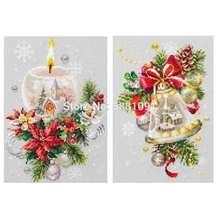 Рождественские свечи колокольчики узоры счетный крест 11ct 14ct