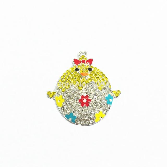 Le plus récent! 42MM 10 pcs/lot pâques bébé poussins strass pendentifs pour la fabrication de bijoux de mode