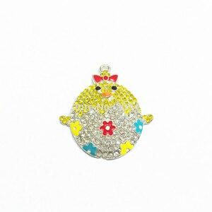 Image 1 - Newest !    42MM   10pcs/lot  Easter Baby Chicks Rhinestone Pendants For Fashion Jewelry Making