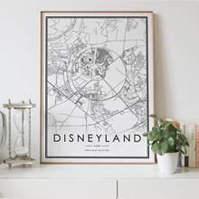 Disneyland paris frança mapa da cidade nordic sala de estar decoração cartaz da lona moderna casa decoração arte impressão pintura