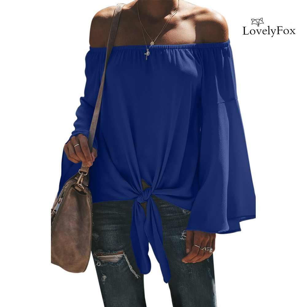 새 스타일 블랙/화이트/그레이 오프 어깨 슬래시 목 긴 소매 넥타이 블라우스 셔츠 여성 섹시 플러스 사이즈 S-2XL 캐주얼상의