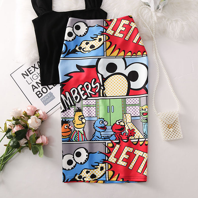 Women's High Waist Slim Cartoon Letter Print Bag Hip Bodycon Tube Skirt Summer Knee High Elastic Pencil Skirts Falda WA525