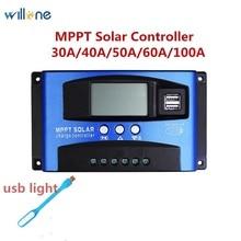 Regolatore del pannello solare a celle solari con doppia uscita USB 5V, regolatore del pannello solare automatico da 30 a/40 a/50 a/60 a/100A MPPT