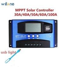 Willone 30A/40A/50A/60A/100A MPPT جهاز تحكم يعمل بالطاقة الشمسية المزدوجة USB 5V الانتاج شاشة الكريستال السائل 12V 24V السيارات ألواح خلايا شمسية منظم